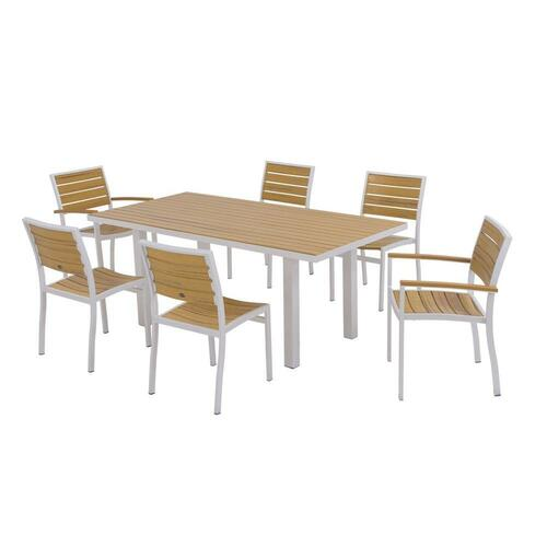 Polywood Euro Textured Silver 7-Piece Plastic Outdoor Patio Dining Set with Plastique Natural Teak Slats