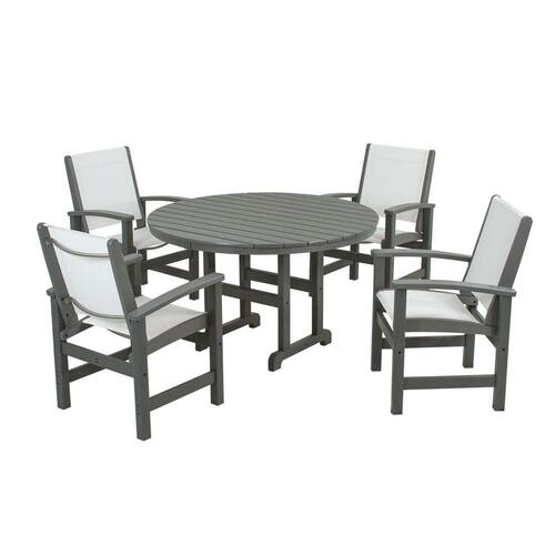 Polywood Coastal Slate Grey All-Weather Plastic Dining Set in White Slings
