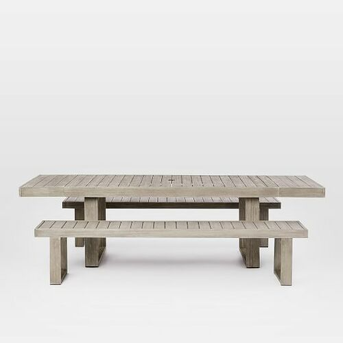 Portside Outdoor Expandable Dining Table + Bench Set - Weathered Gray