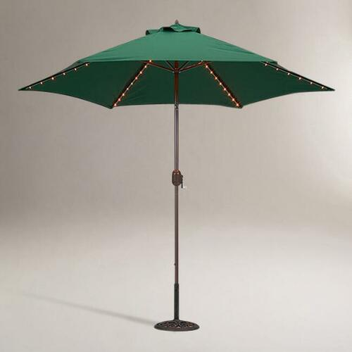 Green 9 Ft Tilting Outdoor Umbrella With Lights