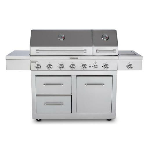 6-Burner Dual Chamber Propane Gas Grill in Stainless Steel with Side Burner