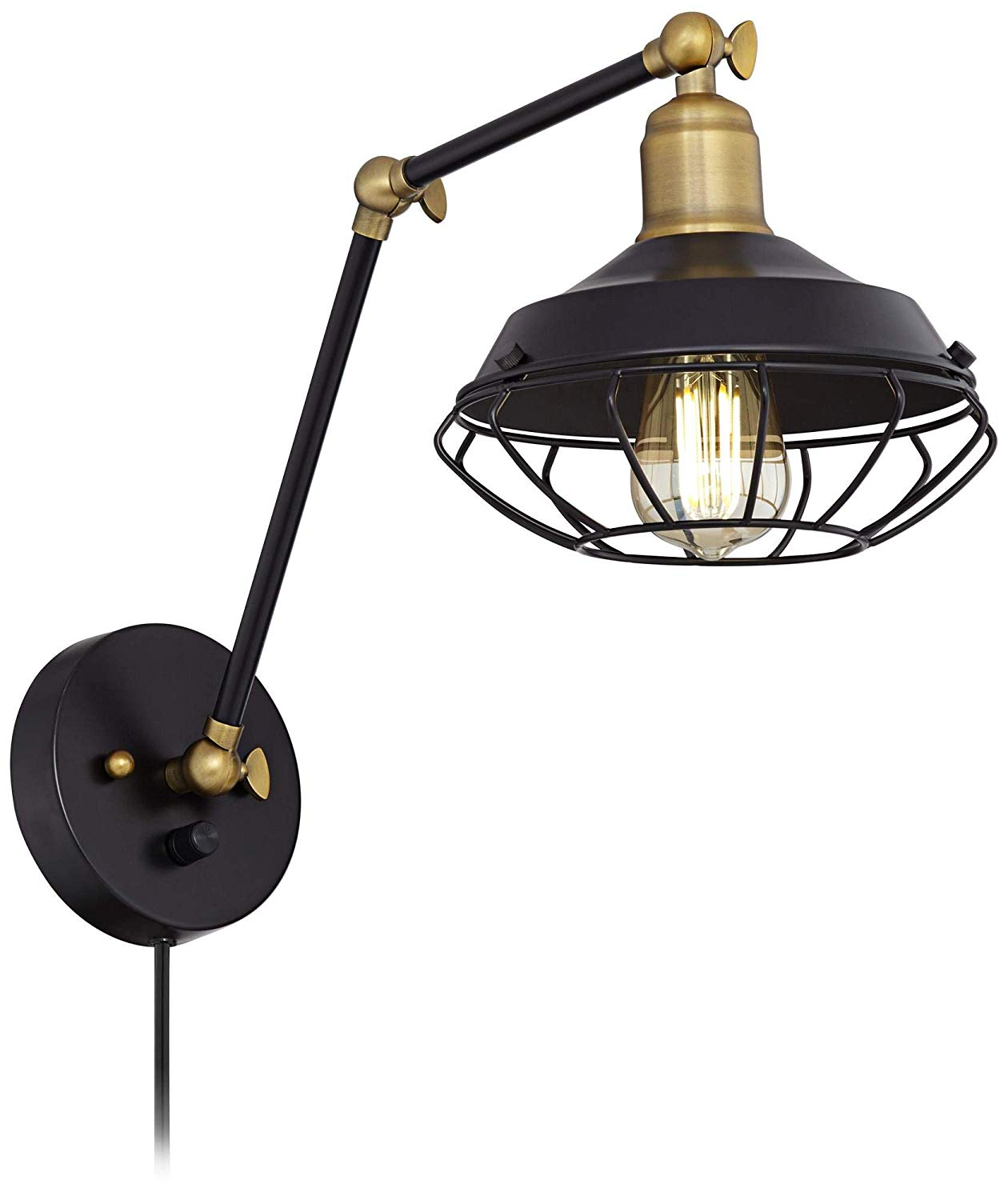 Matte Black and Gold Industrial Cage Wall Lamp