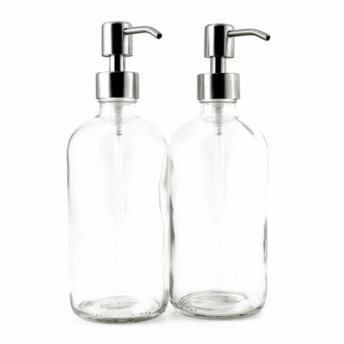 8-Ounce Clear Glass Boston Round Bottles w/Stainless Steel Lotion Pumps | Amazon