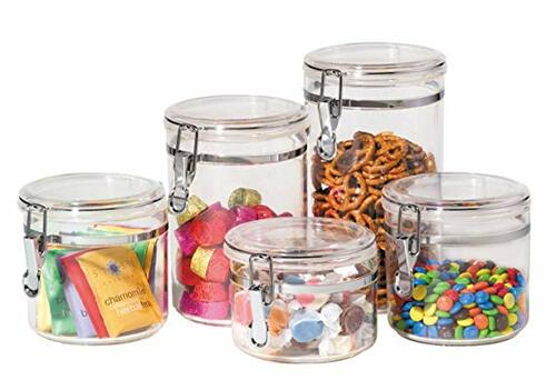 5-Piece Acrylic Canister Set with Airtight Clamp Lids | Amazon