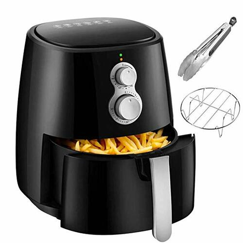 Air Fryer, 4.2QT Air Fryers w/Accessories Cookbook, Grill Rack and Tongs Black | Amazon