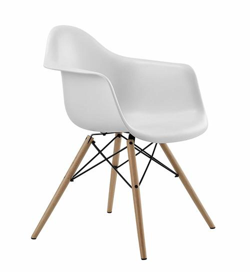 Mid Century Modern Chair with Molded Arms and Wood Legs, Lightweight, White | Amazon