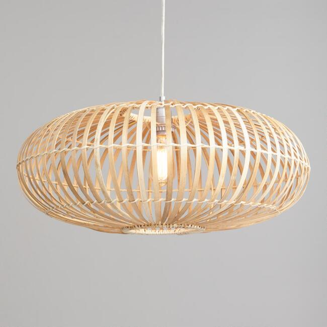 Round Bamboo And Rattan Pendant Lamp