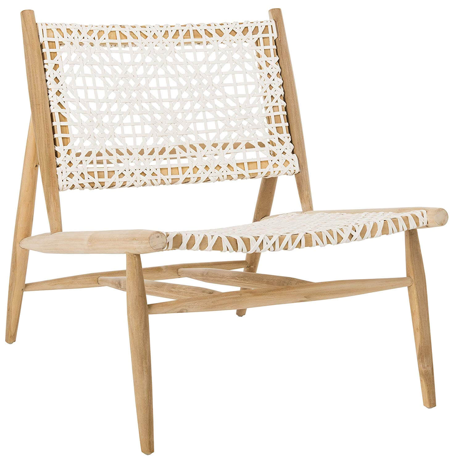Bandelier Leather Weave Off-White and Natural Accent Chair