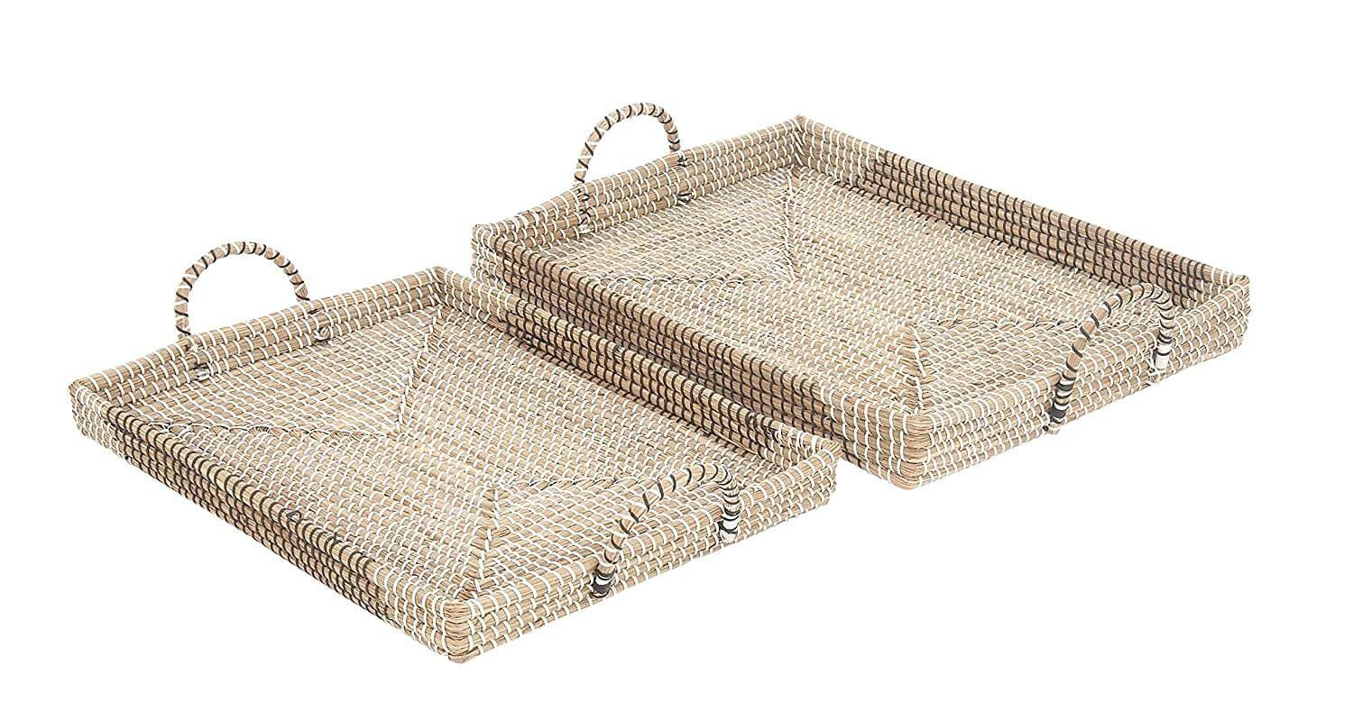 Rectangular Woven Seagrass Trays (Set of 2)