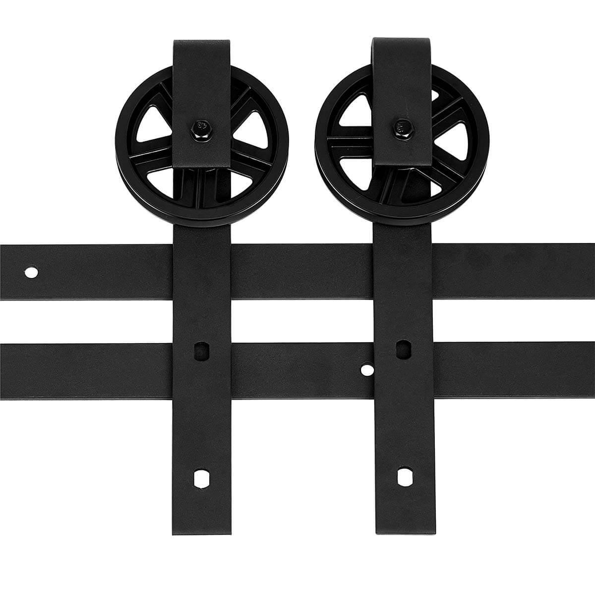 AmazonBasics Sliding Barn Door Hardware Kit, 6.6 Foot, Big Wheel, Black | Amazon
