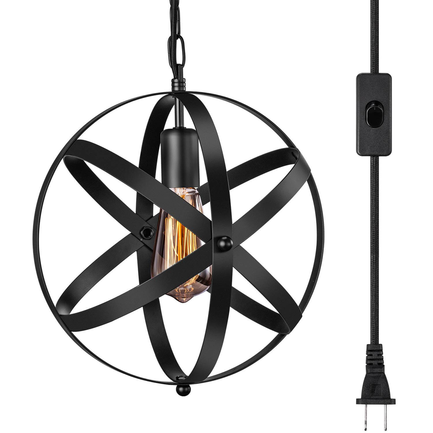 Industrial Plug in Pendant Light with 14.8' Hanging Cord and ON/OFF Switch | Amazon