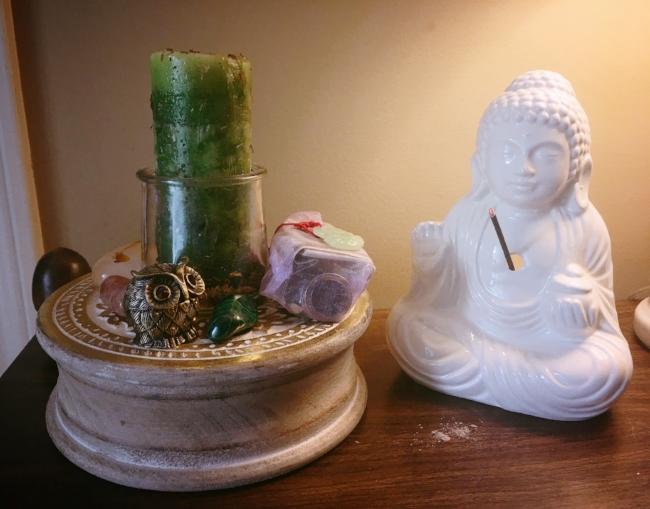 A simple pantheist abundance altar.