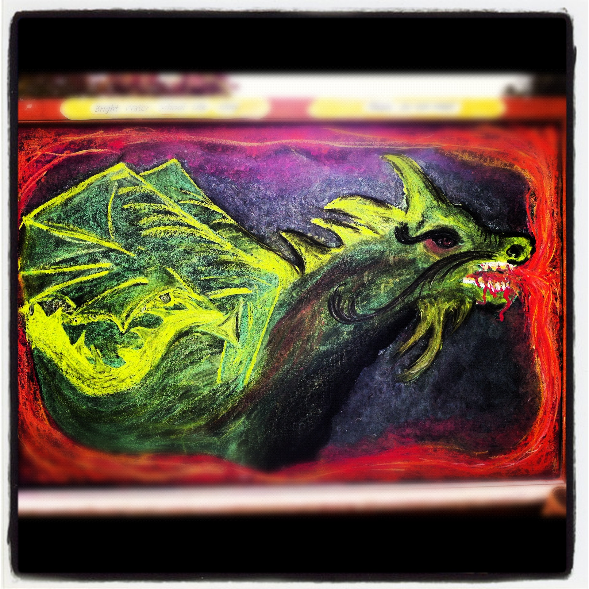 michaelmas chalkboard drawing, bright water waldorf school
