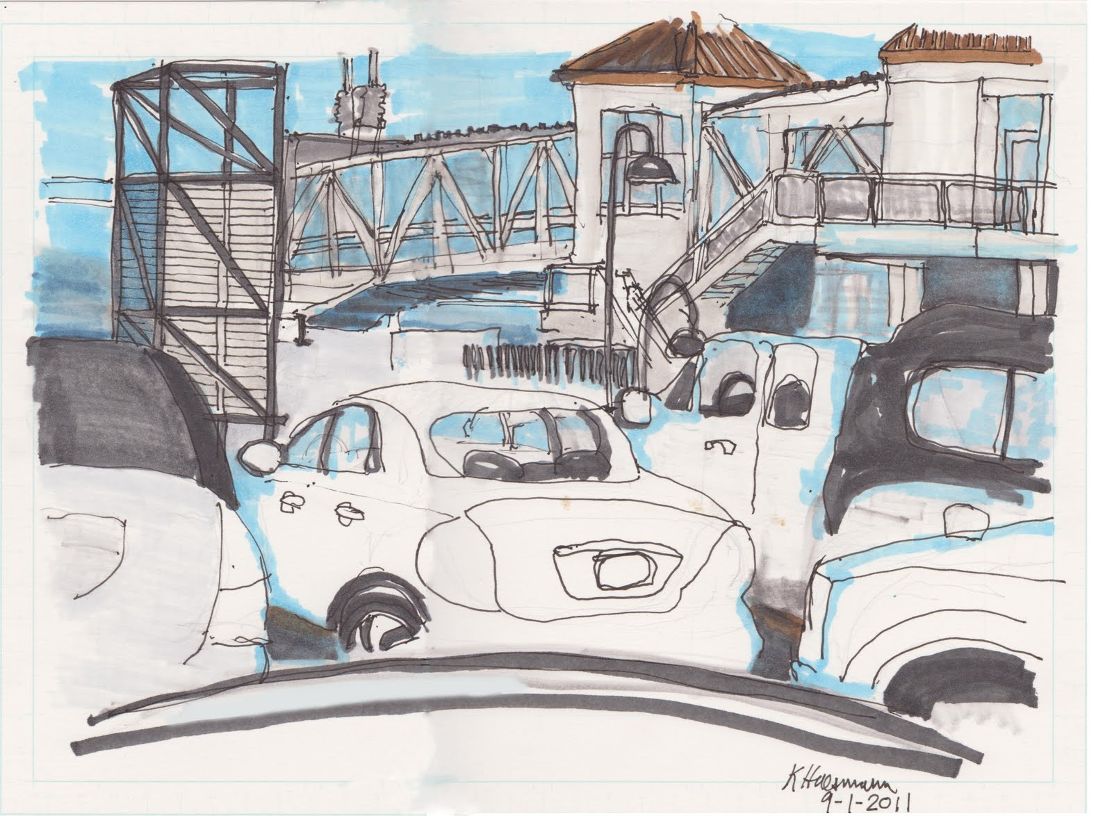 Waiting for the next ferry (leaving Seattle) by K. Huessman