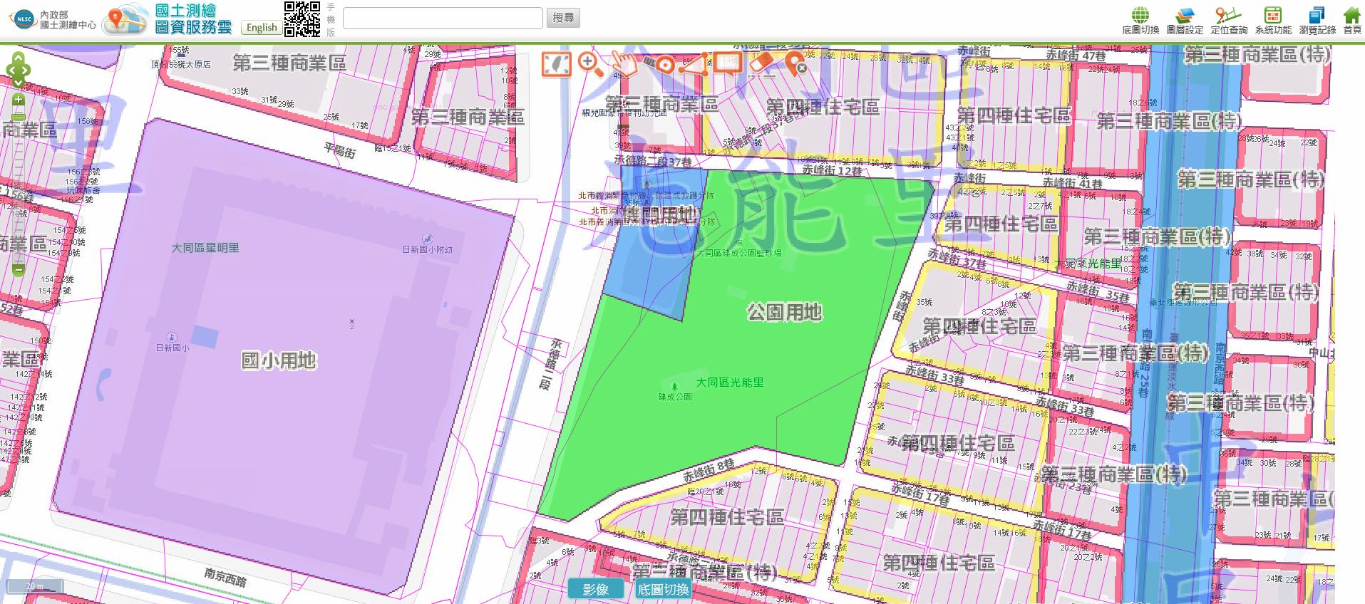 建成公園周遭土地使用分區圖