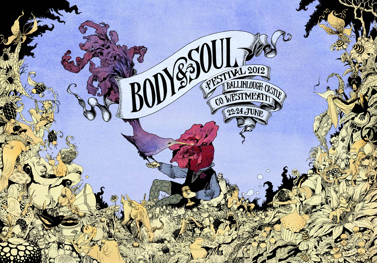 POSTER ARTWORK FOR BODY AND SOUL FESTIVAL 2102 (Day Variation)  Pen and Ink, and Watercolour