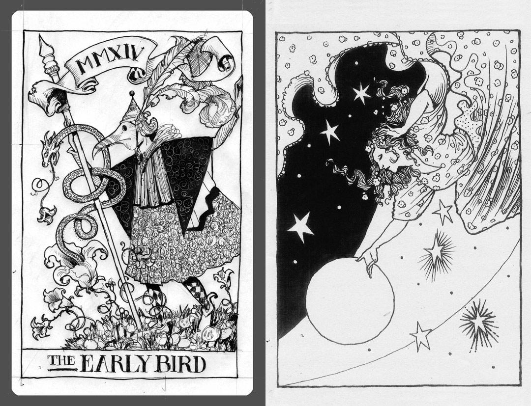 Unused Tarot Card Designs - Pen and Ink