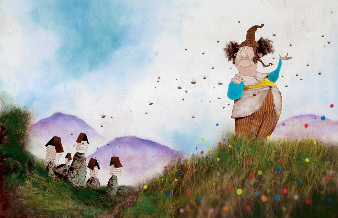 Illustration from 'IRISH TALES OF MYSTERY AND MAGIC' by Eddie Lenihan, pub 2006  Collage, Oils, Photography, Acrylic.