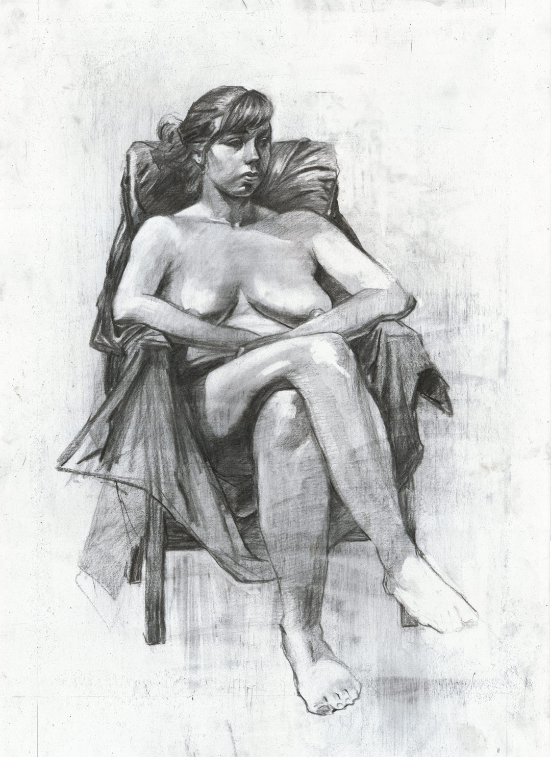 Female Figure Study  Charcoal on Paper