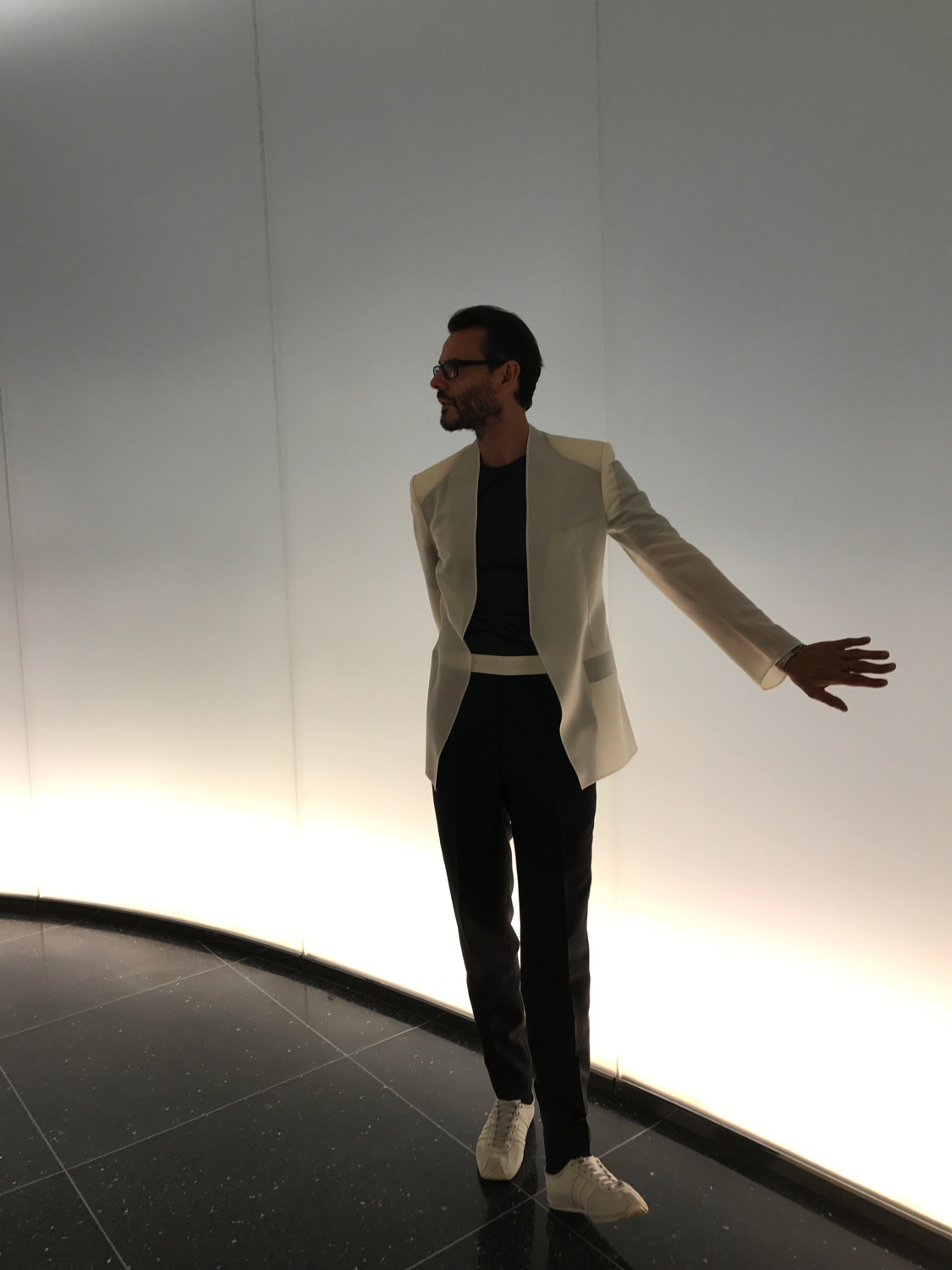 At MOMA NY opening of 'Items is Fashion Modern Show''. Unstructured jacket September 2017.