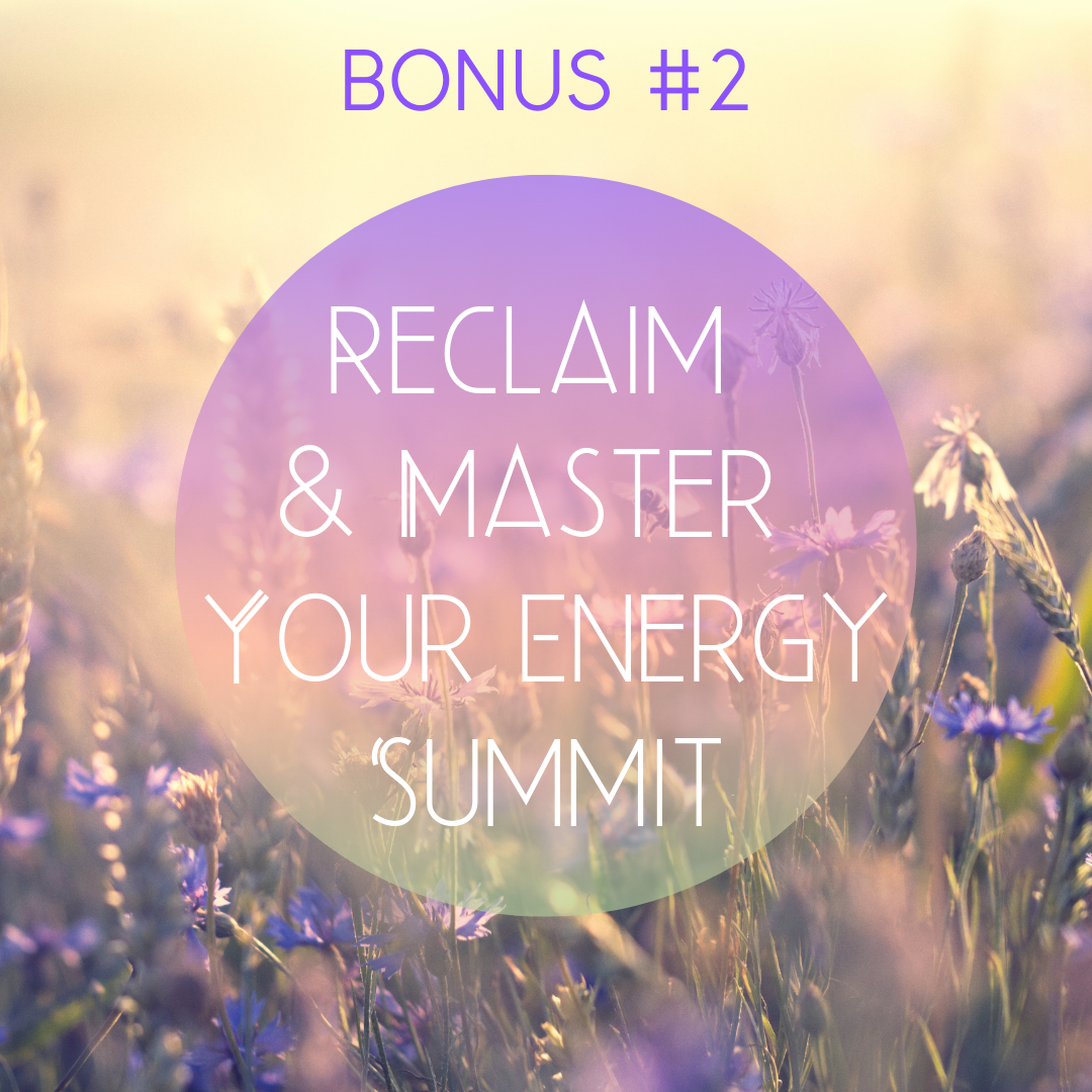 Bonus #2: Reclaim & Master Your Energy summit - Receive all 20 interviews of the Reclaim & Master Your Energy online summit20 inspiring feminine thought leaders, teachers, healers, and entrepreneurs spoke about their personal journey with feminine energy management, cyclical living and why we need to change our relationship to time & energy, to encourage and support you on your healing journeyValue: $199