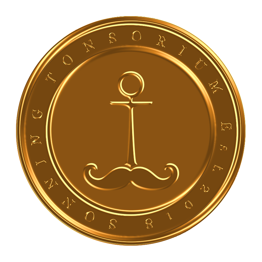 Sonning Tonsorium pin badge design bronze.png