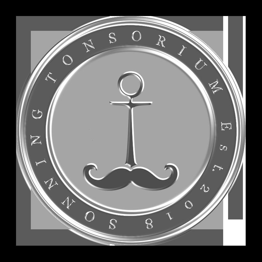 Sonning Tonsorium pin badge design silver.png