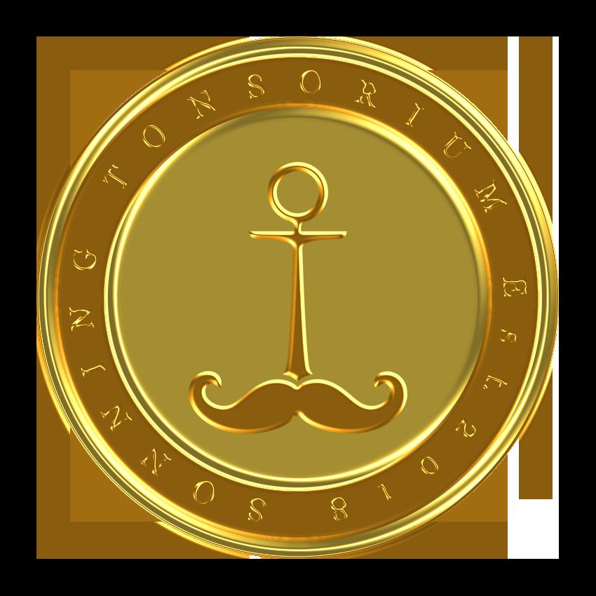 Sonning Tonsorium pin badge design gold.png