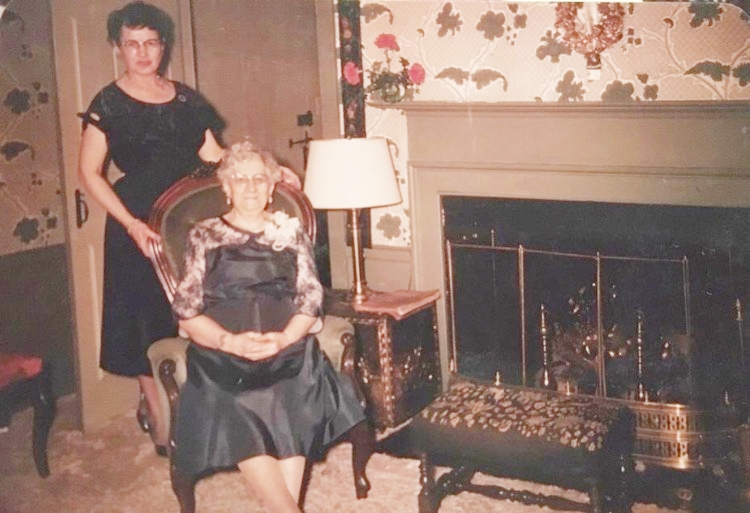 Circa 1960 - My grandmother Dr. Edith at home with her mother, Mrs. Carrie Jewell.
