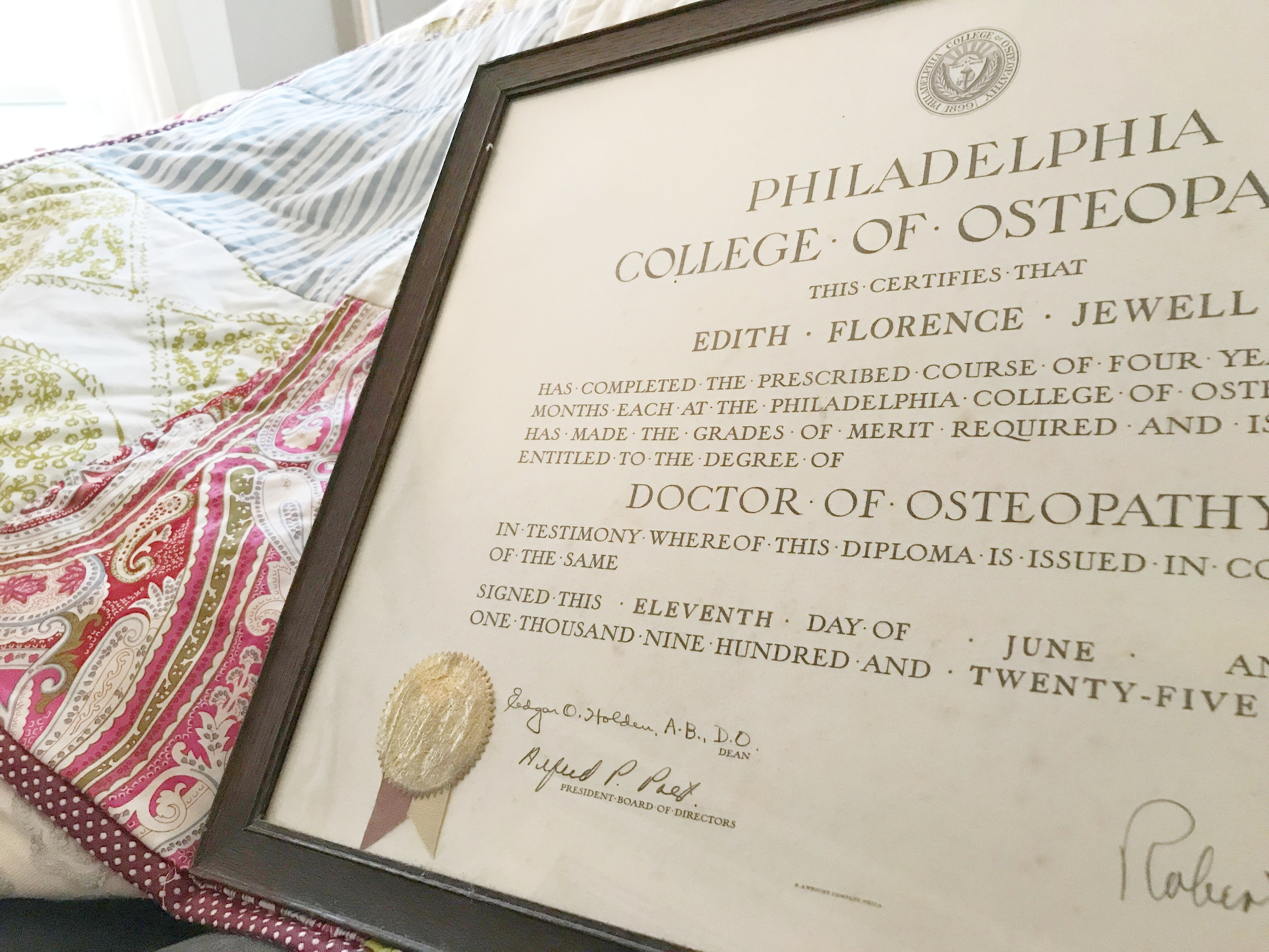 June 11th, 1925 degree from the medical school that didn't reply to my grandmother's application, so she took the train to the school and enrolled in person.