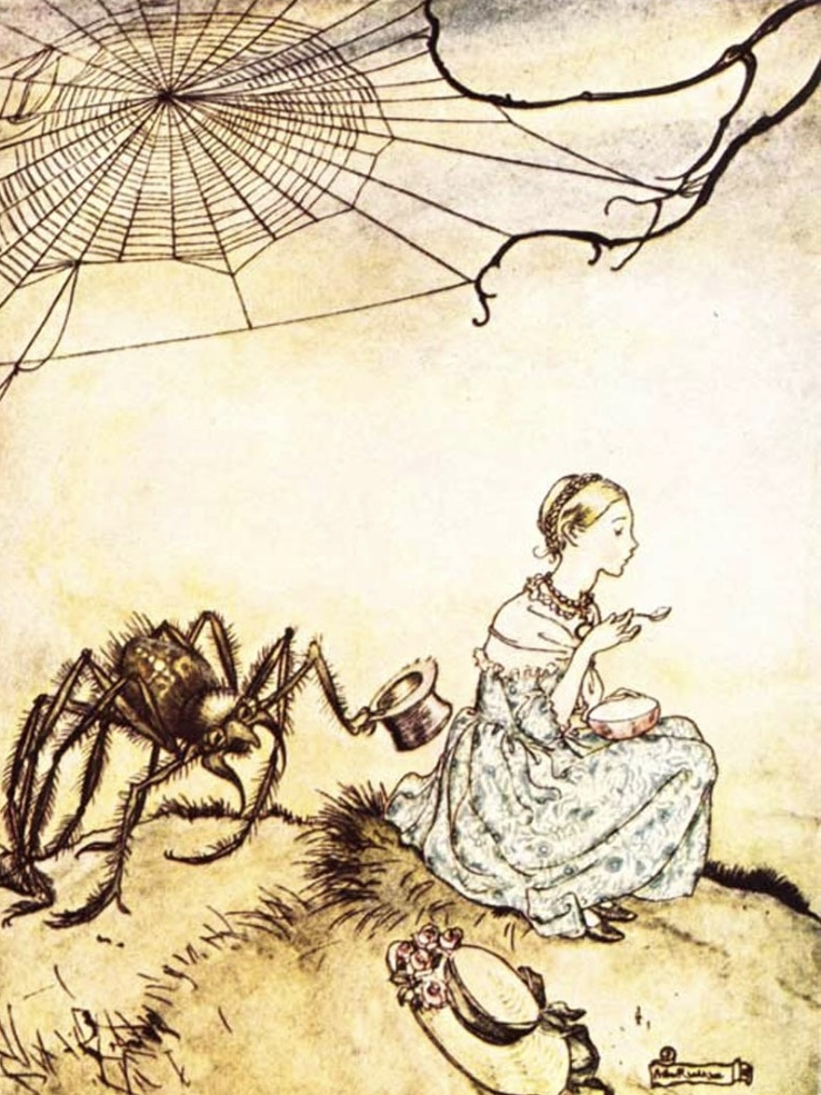 Little Miss Muffet illustration by Arthur Rackham. date unknown