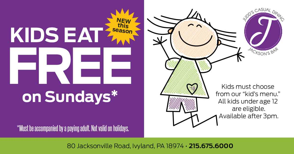Sunday Special - Kids EAT FREE on Sundays*