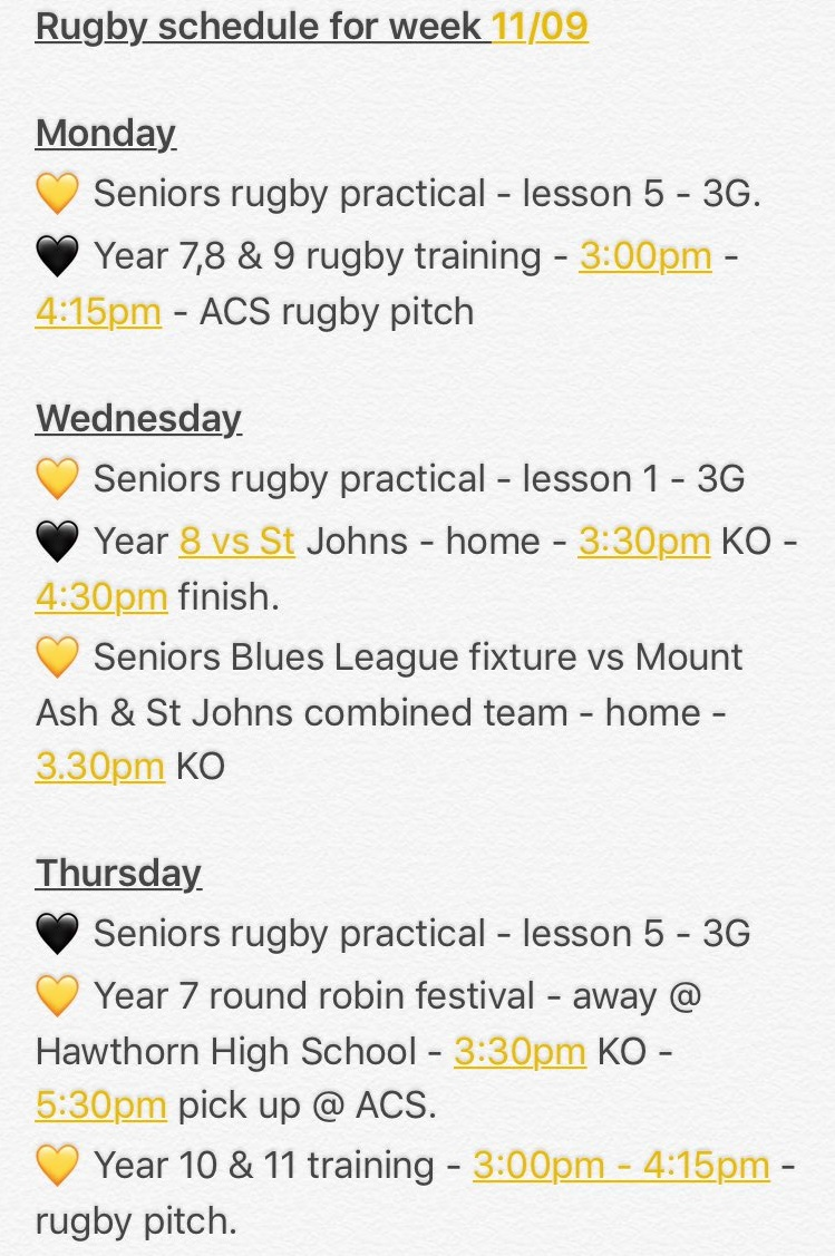 """""""Our very busy week starts tomorrow. Can't wait to see all our teams in action this week. All starts tomorrow with year 7,8 and 9 training."""""""