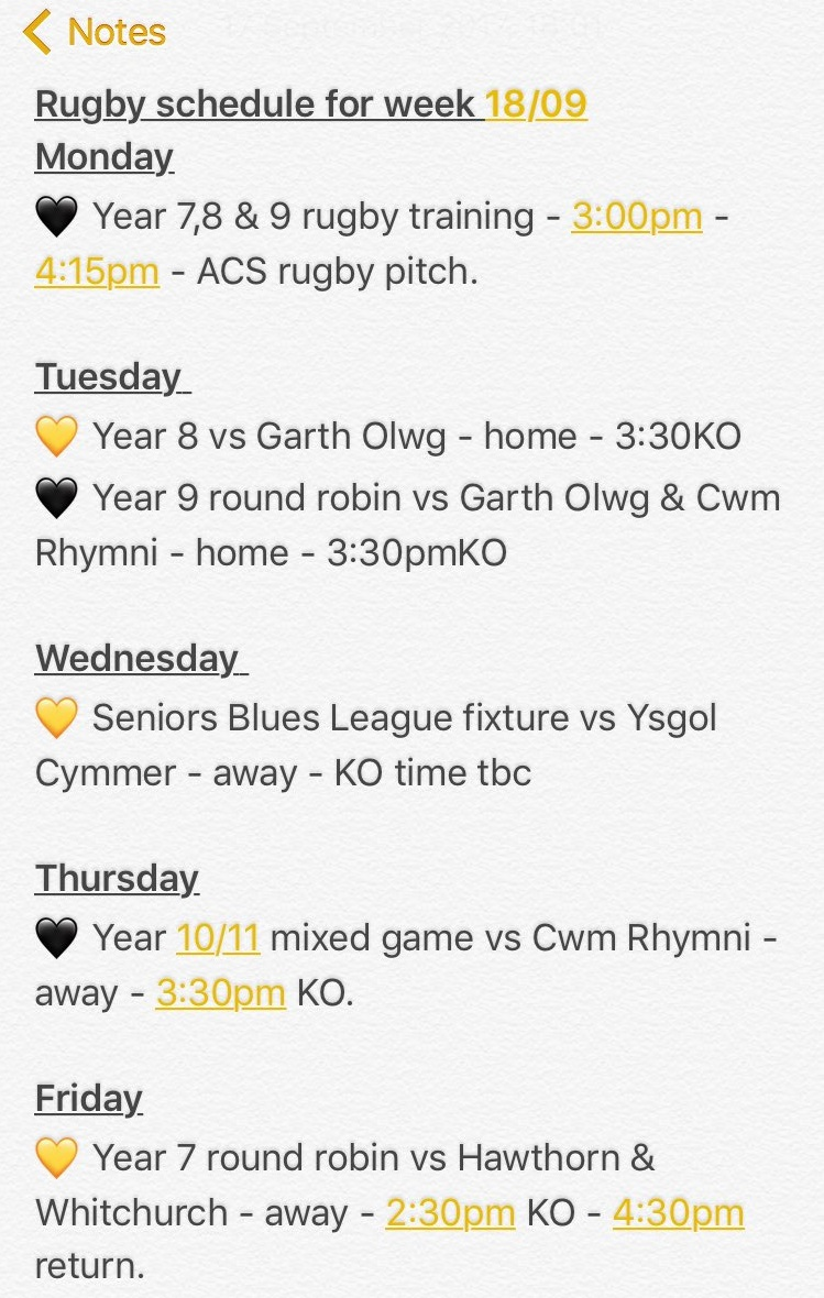 """""""Parents and pupils, please see our busy rugby schedule for this week. Every year group in the school from 7-13 are playing rugby this week."""""""