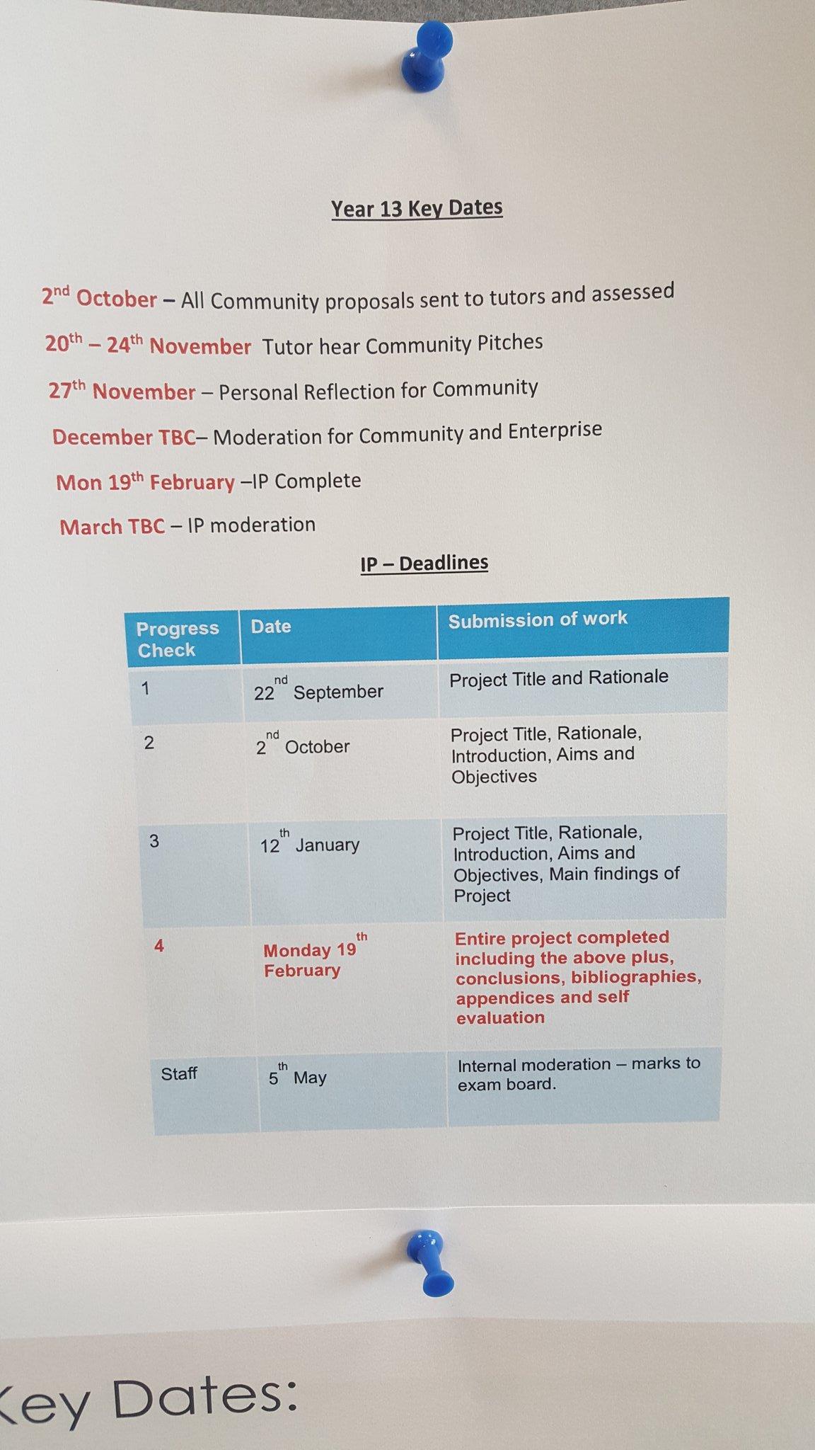 """""""Yr 13 Welsh Bac key dates"""""""