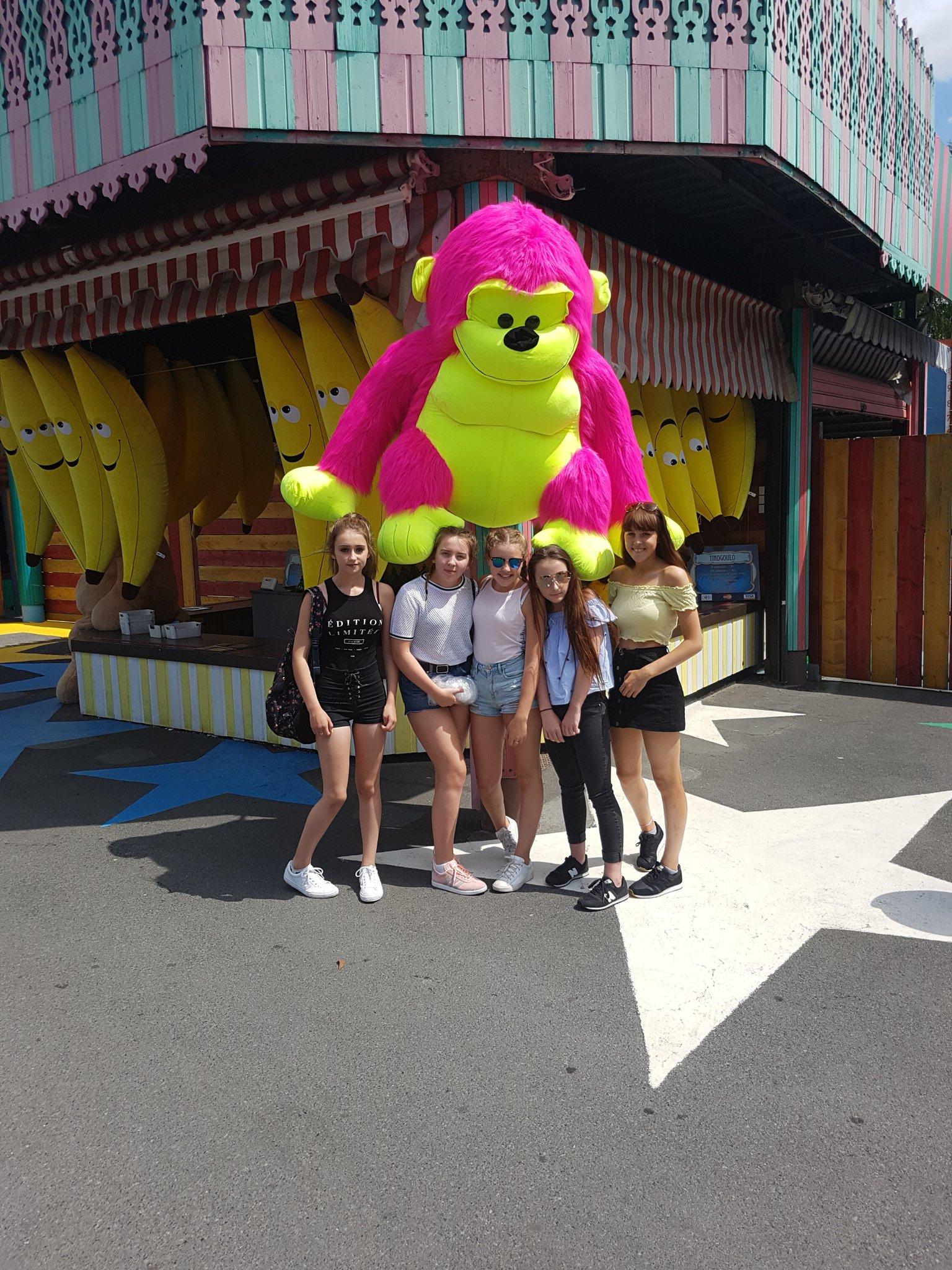"Tweet - @CymraegACS ""The girls have made a new friend in parc asterix @AberdareMFL"""