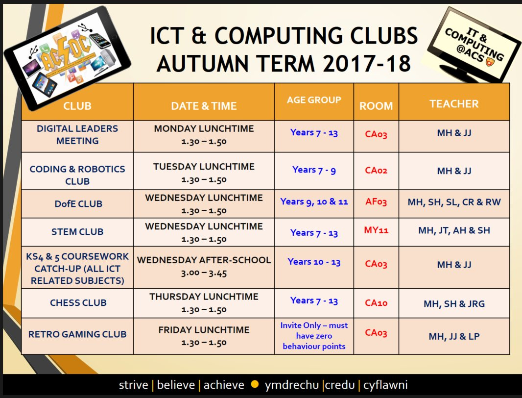 """""""Pleased to announce our extra-curricular timetable for Autumn Term. Many clubs run alongside other departments. See your teachers to sign up"""""""