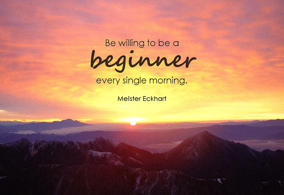 Theme of the Week - Resolutions | Addunedau  'Be willing to be a beginner every single morning.' - Meister Eckhart