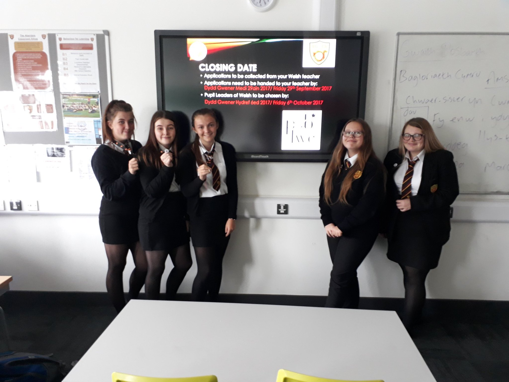"""""""Pupil Leaders of Welsh being launched as of tomorrow in form time. Full course Year 11 already wearing their badges with pride!"""""""