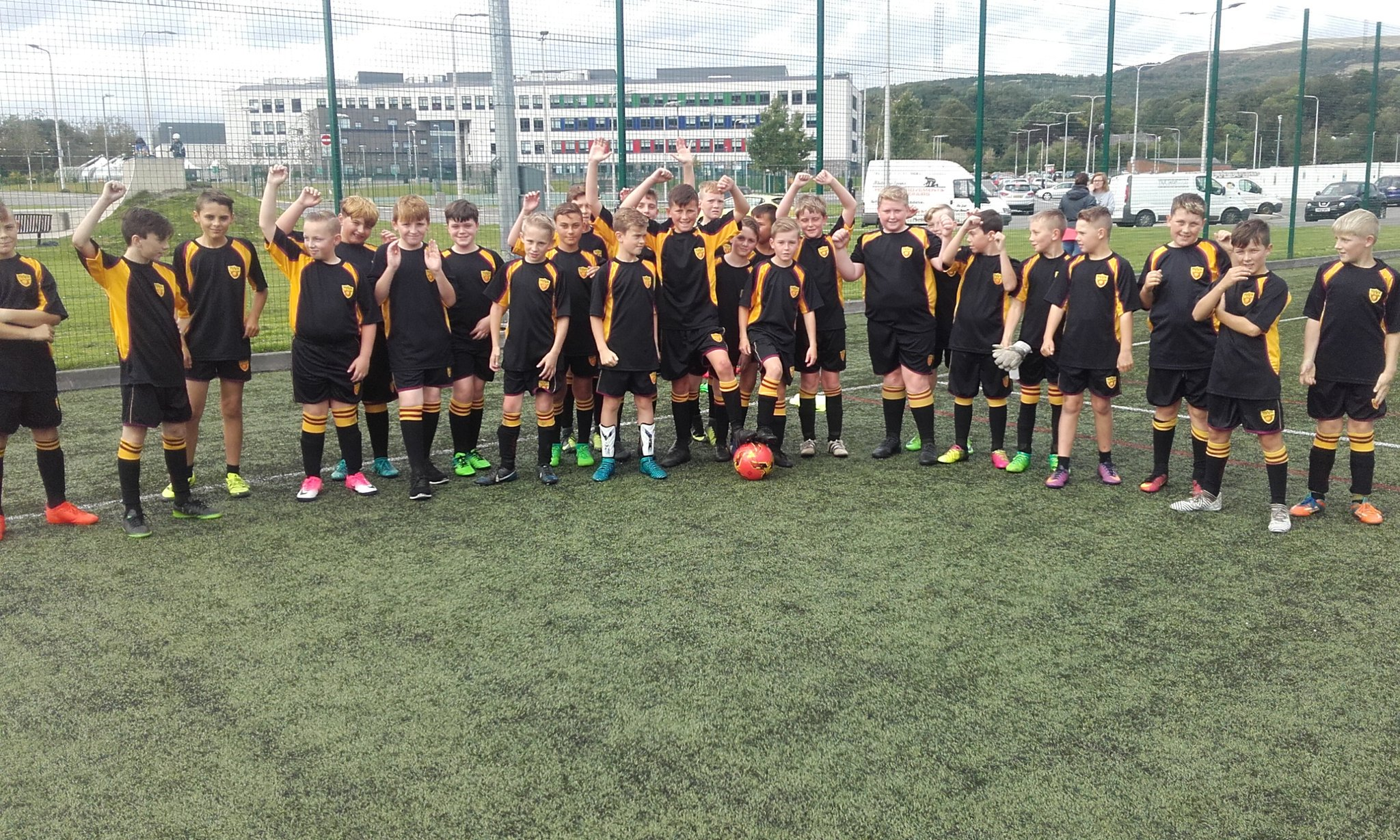 """""""Great turn out from year 7 tonight at ACS football."""""""