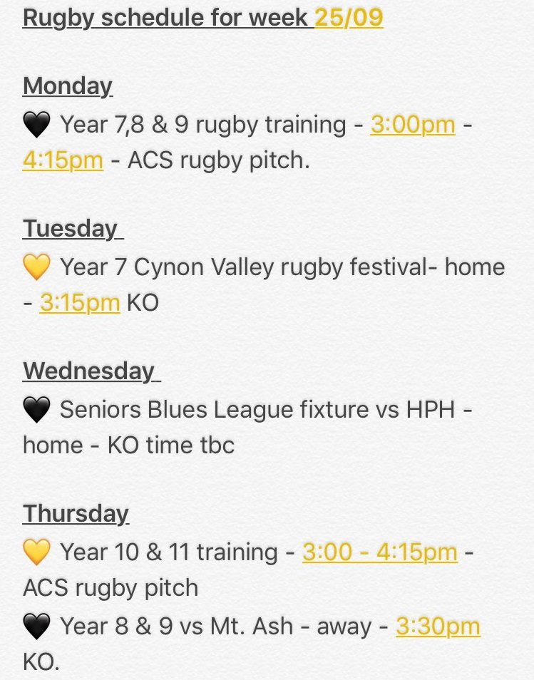 """""""Please see our rugby schedule for the coming week. Plenty of rugby all round as always. #acsrugby """""""