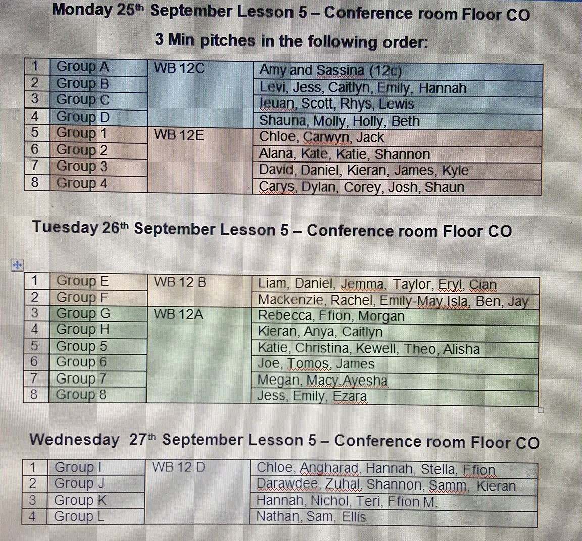 """""""Yr 12 pitches…check the schedule…impressive performances so far """""""