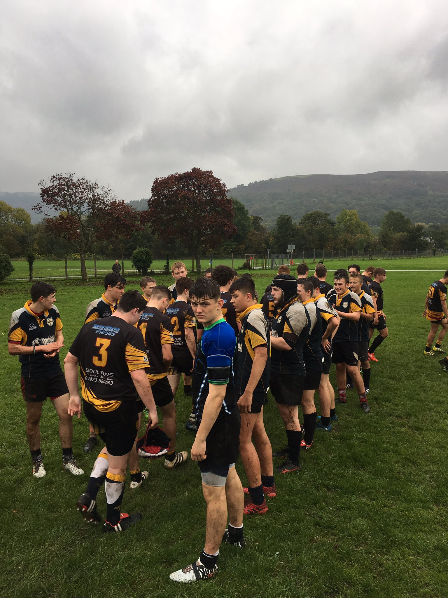 """Enjoyable game of rugby to be involved in this afternoon. 38-7 winners against Ponty High/Hawthorn. Great rugby on display in poor weather."""