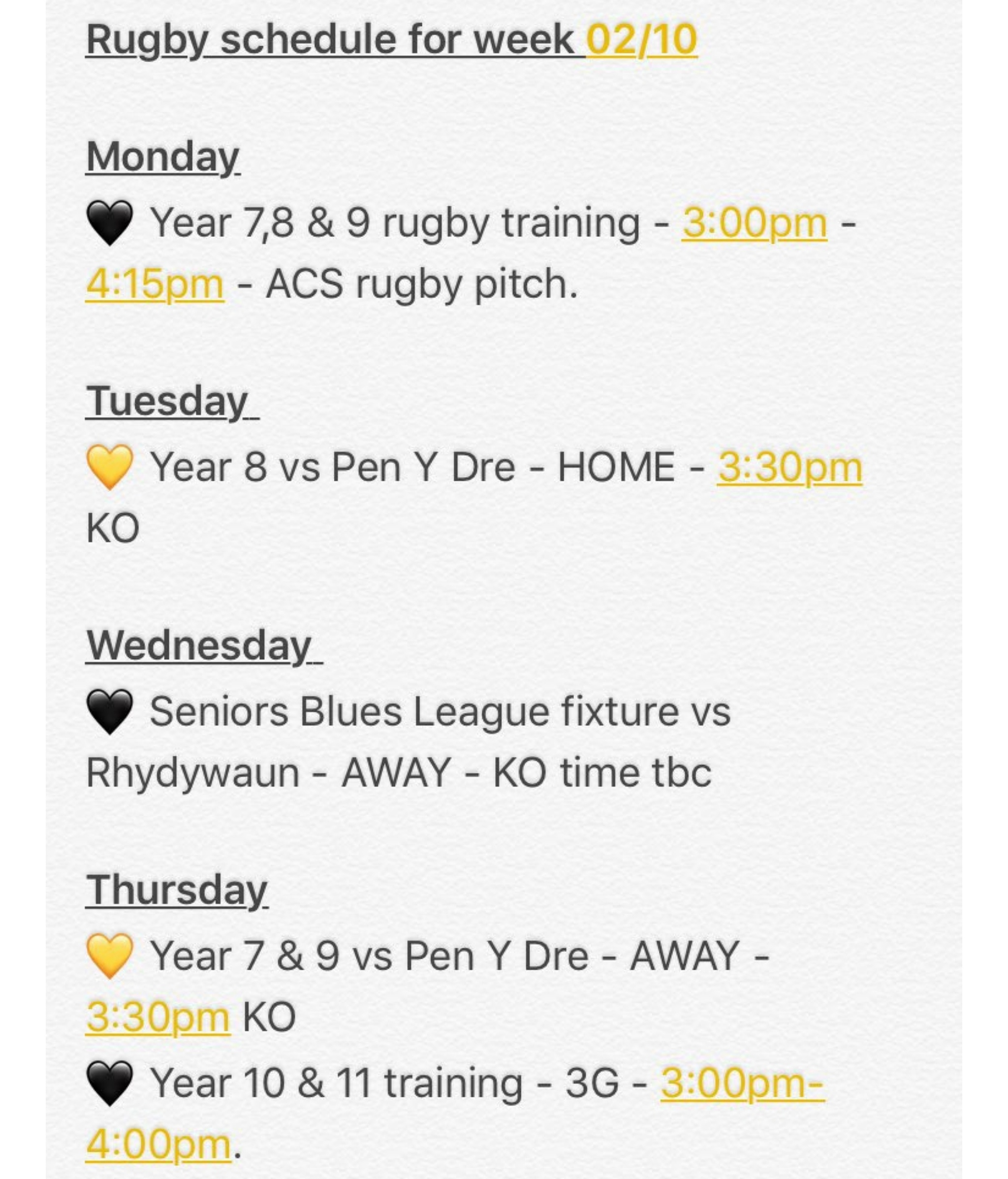 """""""Please see our rugby schedule for the first week of October. #autumnrugby"""""""