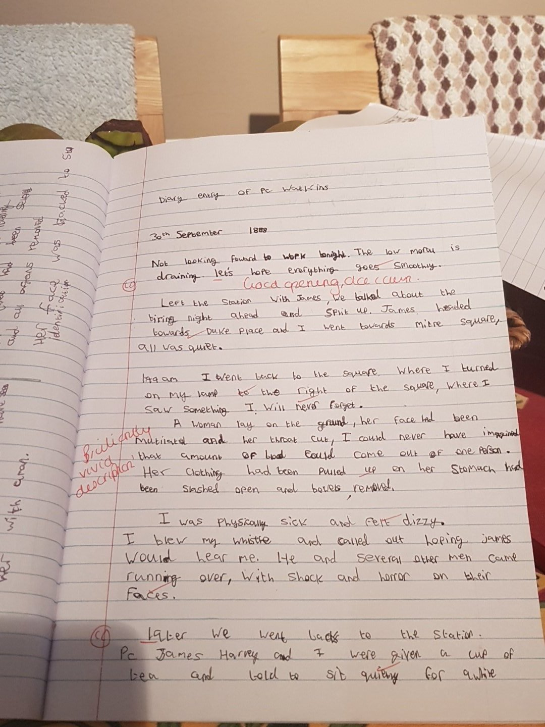 """An excellent diary entry by Alex Baker in 9O1, on discovering a Ripper victim #historychampions"""