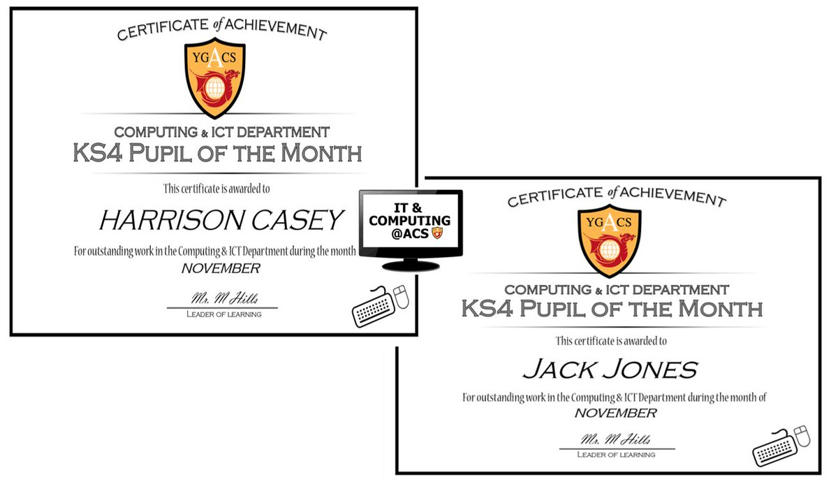 Congratulations to Harrison and Jack, our pupils of the month for November. Both pupils recently achieved the Best in School award in their respective age groups in the UK Computational Thinking Challenge @bebraschallenge . Both pupils are also through to the next round