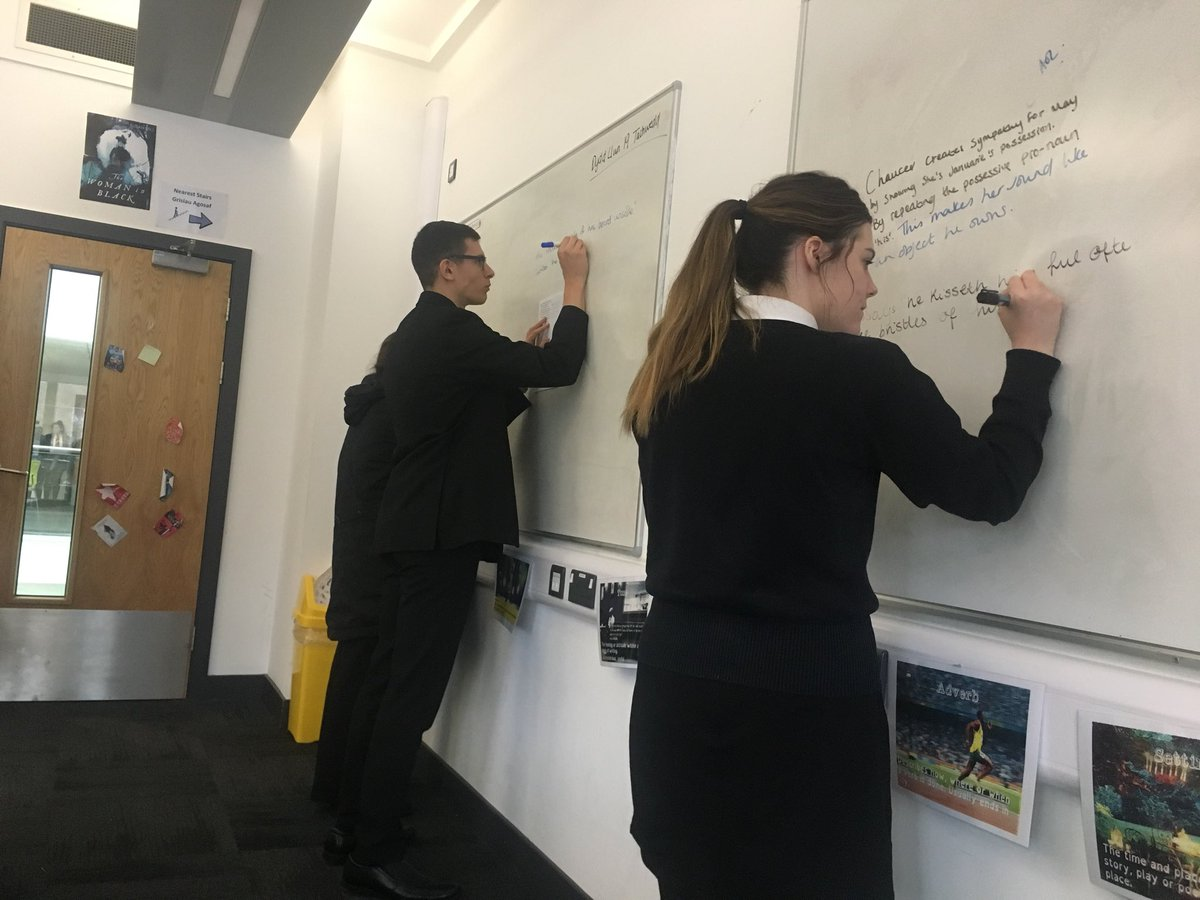 Year 13 writing collaborative answers to a Chaucer extract question this afternoon; focusing on sympathy for …his fresshe May. #chaucer #wjec