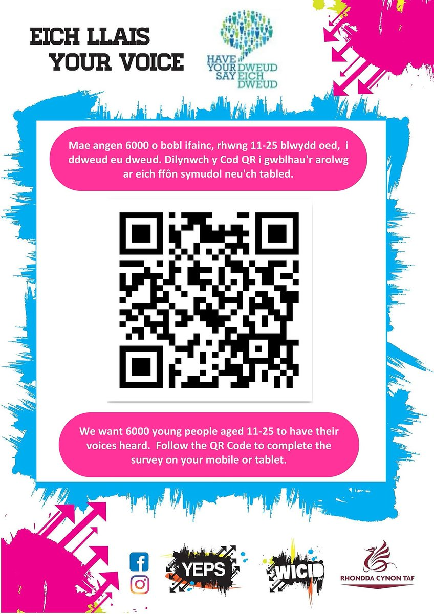 School  Job  Welsh  Sport and Leisure  Internet  Home  Rights  These things influence YOUR life Why shouldn't YOU have YOUR say?  Be heard. Make a difference.  Follow the QR code or click the link below:   https://t.co/HVVeWXeFl6   Your Voice 2018