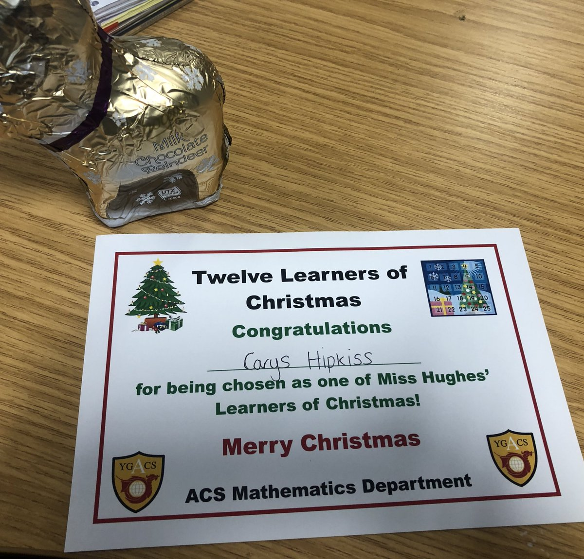 Congratulations to Carys in Year 9 for being chosen as my third Learner of Christmas Carys has put lots of effort into finding percentages over the last few lessons #Mathematics #HardWorkPaysOff