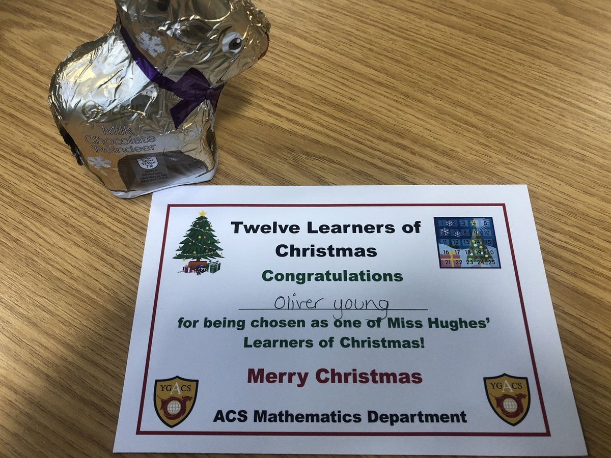 Congratulations to Oliver in Year 7 for being chosen as my fourth learner of Christmas Oliver produces high quality work in every Maths lesson. Da Iawn #Mathematics #HardWorkPaysOff